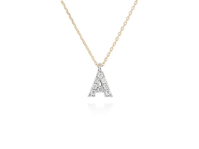 Necklace in 18kt. Gold and diamonds de Marina Garcia Joyas en plata Necklace in yellow and white 18kt gold with 8 diamonds carat total weight 0.06 (Color: Top Wesselton (G) Clarity: SI). Height of letter: 6 mm. Adjustable gold chain in 40-42 cm.