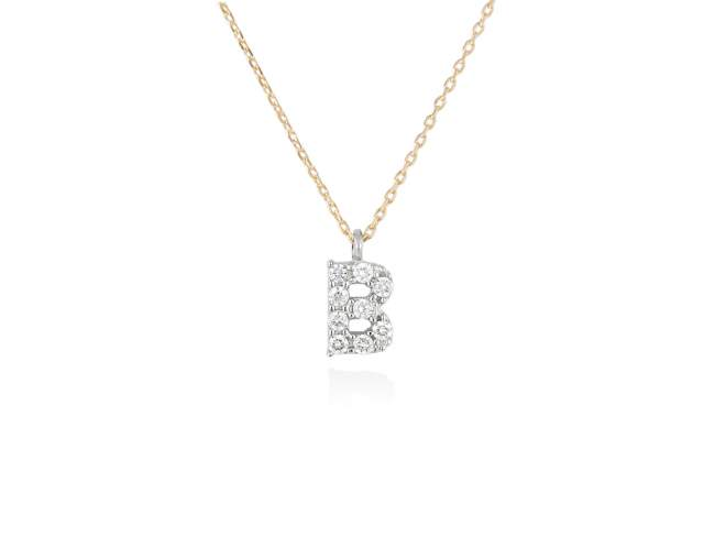 Necklace in 18kt. Gold and diamonds de Marina Garcia Joyas en plata Necklace in yellow and white 18kt gold with 9 diamonds carat total weight 0.07 (Color: Top Wesselton (G) Clarity: SI). Height of letter: 6 mm. Adjustable gold chain in 40-42 cm.