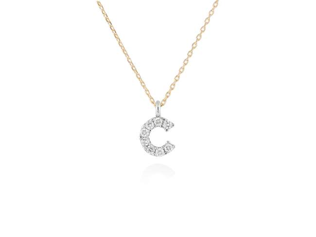 Necklace in 18kt. Gold and diamonds de Marina Garcia Joyas en plata Necklace in yellow and white 18kt gold with 8 diamonds carat total weight 0.06 (Color: Wesselton (H) Clarity: SI). Height of letter: 6 mm. Adjustable gold chain in 40-42 cm.