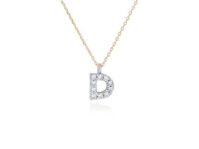 Necklace in 18kt. Gold and diamonds de Marina Garcia Joyas en plata Necklace in yellow and white 18kt gold with 10 diamonds carat total weight 0.08 (Color: Wesselton (H) Clarity: SI). Height of letter: 6 mm. Adjustable gold chain in 40-42 cm.