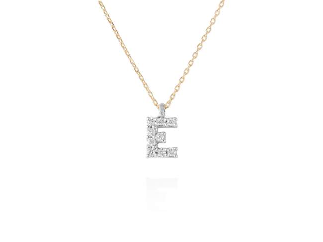 Necklace in 18kt. Gold and diamonds de Marina Garcia Joyas en plata Necklace in yellow and white 18kt gold with 9 diamonds carat total weight 0.07 (Color: Wesselton (H) Clarity: SI). Height of letter: 6 mm. Adjustable gold chain in 40-42 cm.