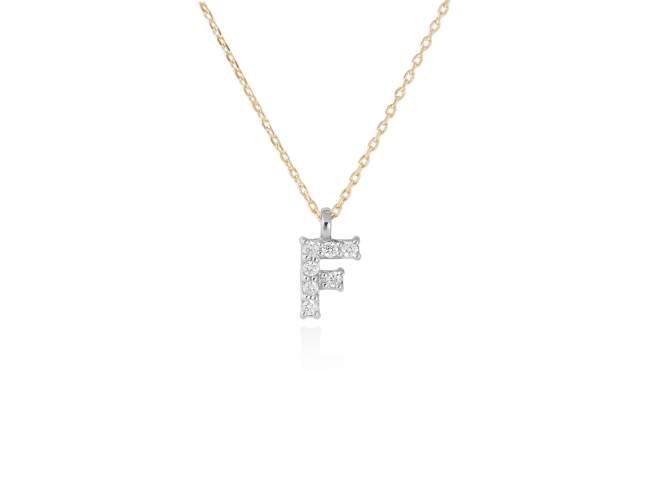 Necklace in 18kt. Gold and diamonds de Marina Garcia Joyas en plata Necklace in yellow and white 18kt gold with 7 diamonds carat total weight 0.05 (Color: Wesselton (H) Clarity: SI). Height of letter: 6 mm. Adjustable gold chain in 40-42 cm.