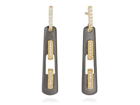 Earrings RITZ white in black silver