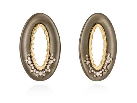 Earrings MIRAGE cognac in black silver