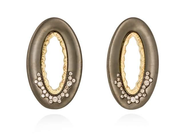 Earrings MIRAGE cognac in black silver de Marina Garcia Joyas en plata Earrings in 18kt yellow gold and ruthenium plated 925 sterling silver and cognac cubic zirconia. (size: 3,5 cm.)