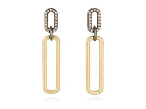 Earrings SUITE cognac in golden silver