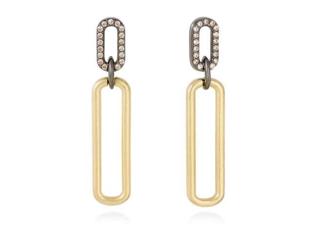 Earrings SUITE cognac in golden silver de Marina Garcia Joyas en plata Earrings in 18kt yellow gold and ruthenium plated 925 sterling silver and cognac cubic zirconia. (size: 4,3 cm.)