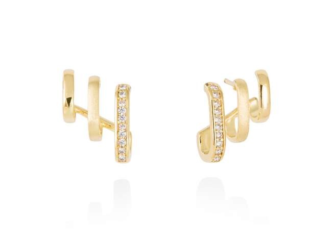 Earrings ENCORE white in golden silver de Marina Garcia Joyas en plata Earrings in 18kt yellow gold plated 925 sterling silver with white cubic zirconia. (size: 1,5 x 2 cm.)
