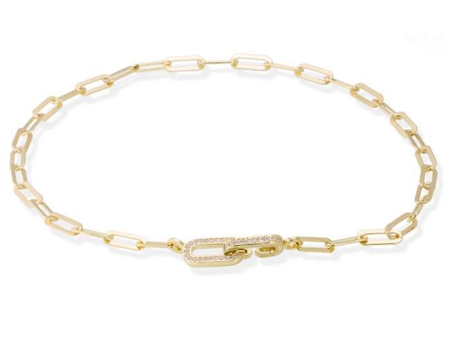 Necklace HILTON white in golden silver de Marina Garcia Joyas en plata Necklace in 18kt yellow gold plated 925 sterling silver with white cubic zirconia. (length: 42 cm.)