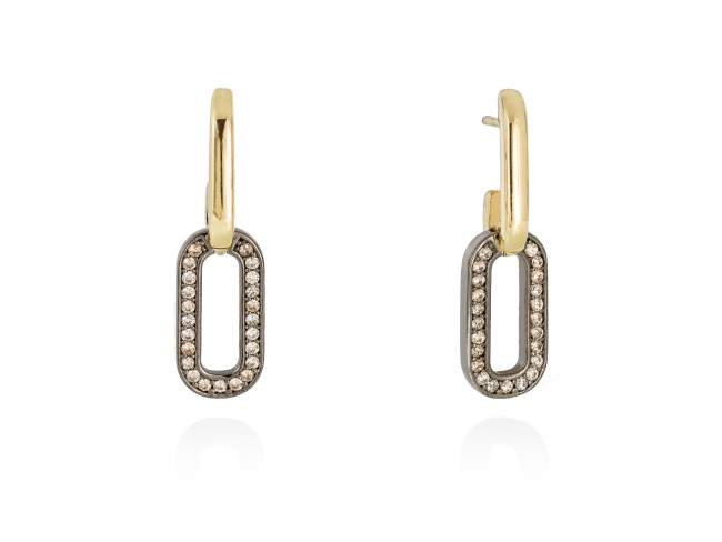 Earrings HILTON cognac in golden silver de Marina Garcia Joyas en plata Earrings in 18kt yellow gold and ruthenium plated 925 sterling silver and cognac cubic zirconia. (size: 3,3 cm.)