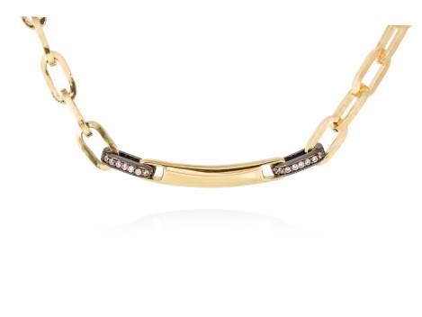 Necklace RITZ cognac in golden silver