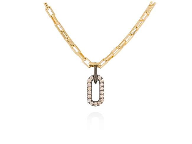 Necklace SUITE cognac in golden silver de Marina Garcia Joyas en plata Necklace in 18kt yellow gold and ruthenium plated 925 sterling silver and cognac cubic zirconia. (Length of necklace: 45 cm. Size of pendant: 1,7 cm.)