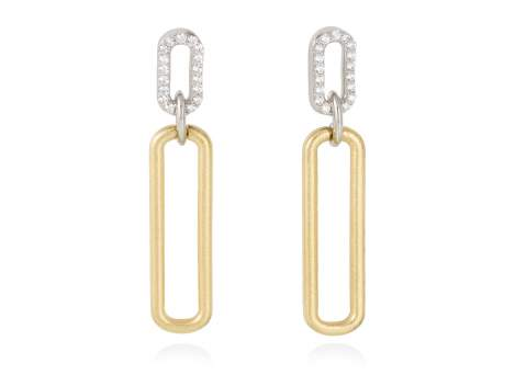 Earrings SUITE white in golden silver