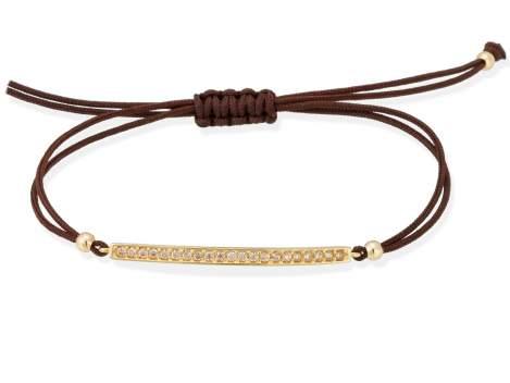 Bracelet SUITE cognac in golden silver