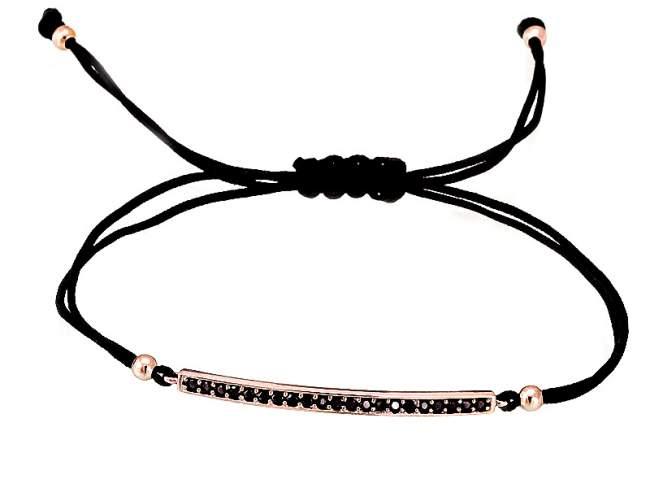Pulsera SUITE negro en plata rosa de Marina Garcia Joyas en plata Pulsera de plata de primera ley (925) chapada en oro rosa de 18kt y espinela negra sintética. (medida extensible: de 15 a 23 cm.)