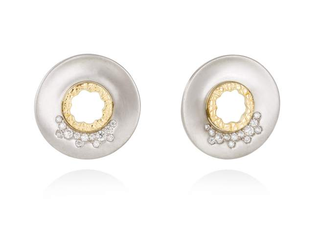 Earrings MIRAGE white in silver de Marina Garcia Joyas en plata Earrings in 18kt yellow gold and rhodium plated 925 sterling silver and white cubic zirconia. (size: 2 cm.)