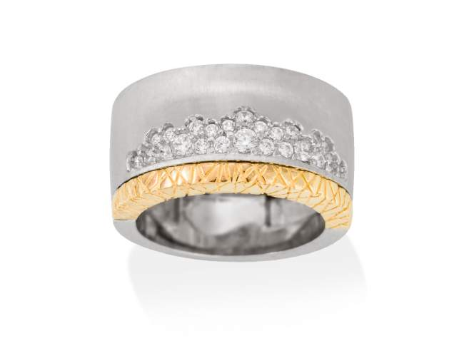 Ring MIRAGE white in silver de Marina Garcia Joyas en plata Ring in 18kt yellow gold and rhodium plated 925 sterling silver with white cubic zirconia.