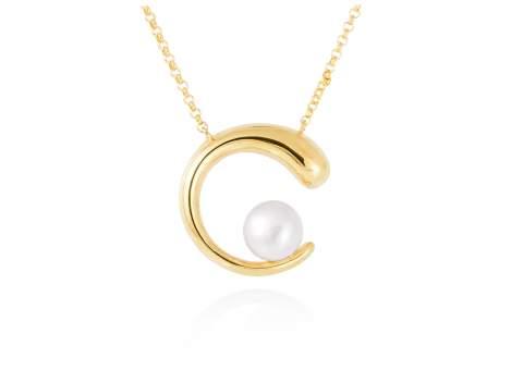Gargantilla SIAM perla en plata dorada