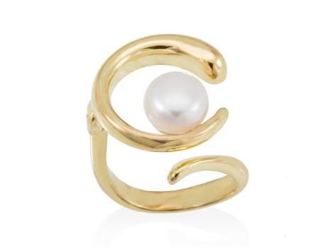 Anillo SIAM perla en plata dorada