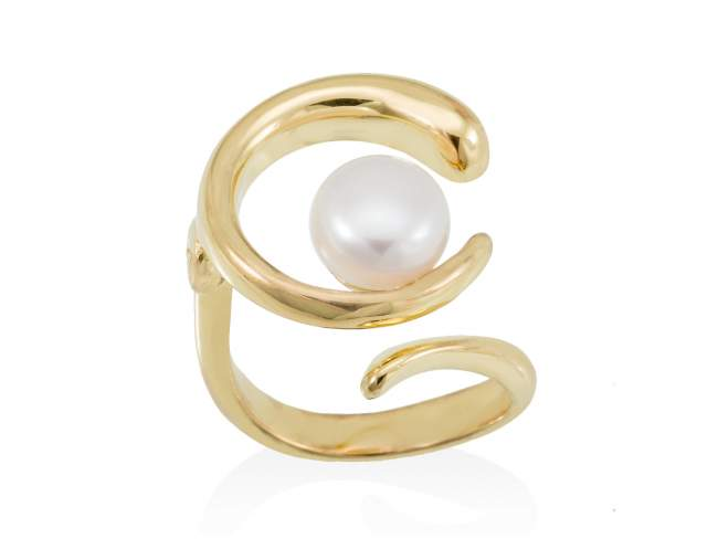 Ring SIAM pearl in golden silver de Marina Garcia Joyas en plata Ring in 18kt yellow gold plated 925 sterling silver with freshwater cultured pearl.