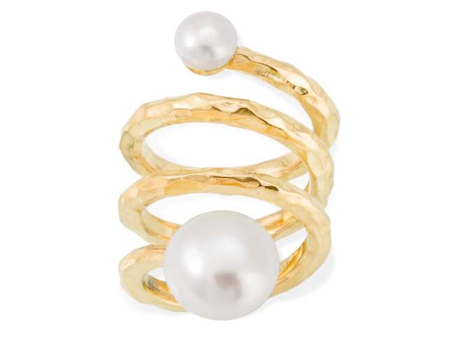 Ring SEIDAI pearl in golden silver de Marina Garcia Joyas en plata Ring in 18kt yellow gold plated 925 sterling silver with freshwater cultured pearls.