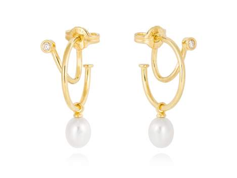 Earrings WHAM pearl in golden silver