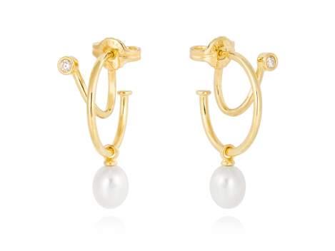 Ohrringe WHAM perle in silber vergoldet