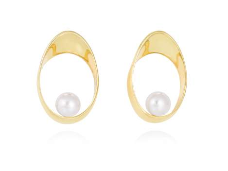 Earrings YAMA pearl in golden silver