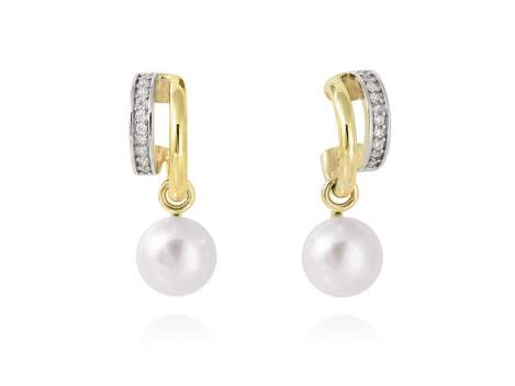 Earrings KIOTO pearl in golden silver