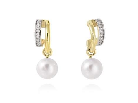 Earrings KIOTO pearl in golden silver