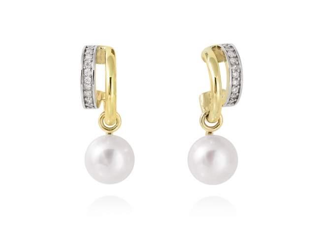 Ohrringe KIOTO perle in silber vergoldet de Marina Garcia Joyas en plata Ohrringe in Silber (925) vergoldet in 18 Karat Gelbgold, Zirkonia weiß und Süßwasser-Zuchtperlen. (Größe: 2,5 cm)