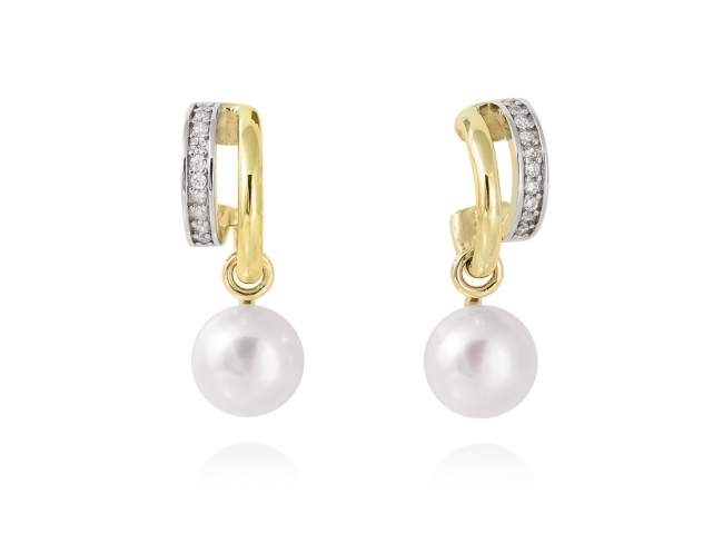 Pendientes KIOTO perla en plata dorada de Marina Garcia Joyas en plata Pendientes de plata de primera ley (925) chapada en oro amarillo de 18kt, circonita blanca y perlas cultivadas. (tamaño: 2,5 cm.)