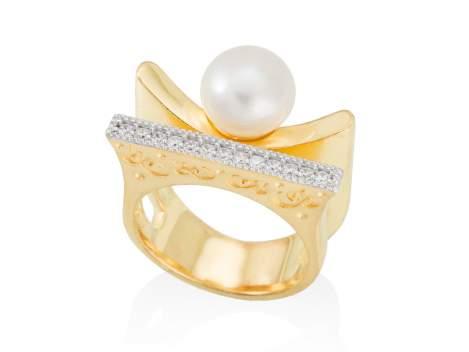 Anillo KIOTO perla en plata dorada
