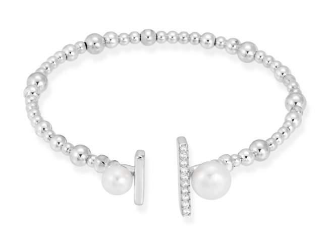 Bracelet SAPPORO pearl in silver de Marina Garcia Joyas en plata Bracelet in rhodium plated 925 sterling silver, white cubic zirconia and freshwater cultured pearls. (wrist size: 18 cm.)
