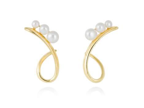 Earrings TAKA pearl in golden silver
