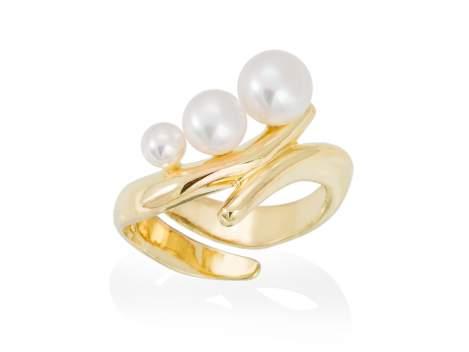 Anillo TAKA perla en plata dorada