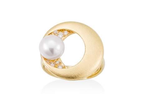 Ring SAKAY pearl in golden silver