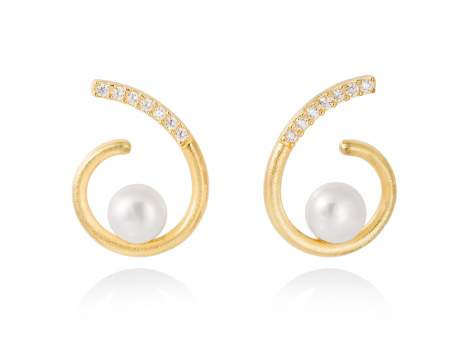 Earrings AKITA pearl in golden silver