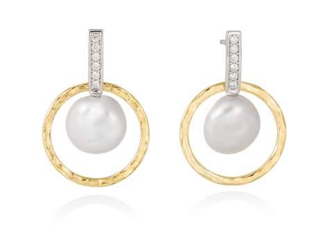 Earrings OSAKA pearl in golden silver