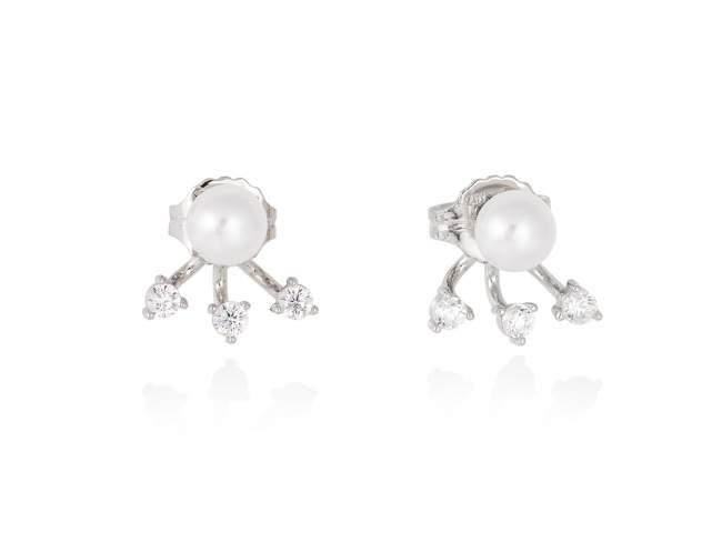 Earrings HANOI pearl in silver de Marina Garcia Joyas en plata Earrings in rhodium plated 925 sterling silver, white cubic zirconia and freshwater cultured pearls. (size: 1,5 cm.)