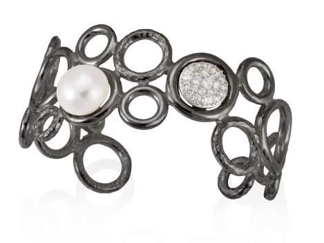 Pulsera LEPERL perla en plata negra