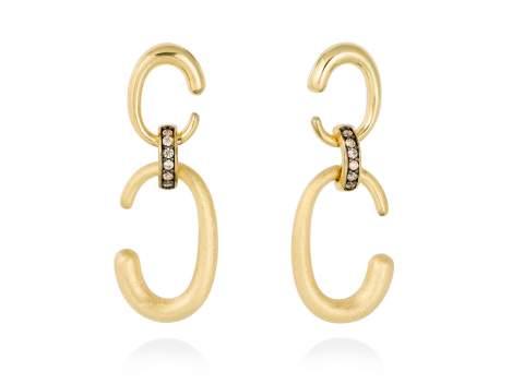 Earrings CAREY cognac in golden silver