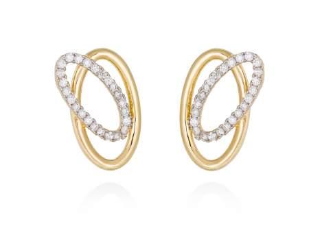 Earrings AUSTRAL white in golden silver