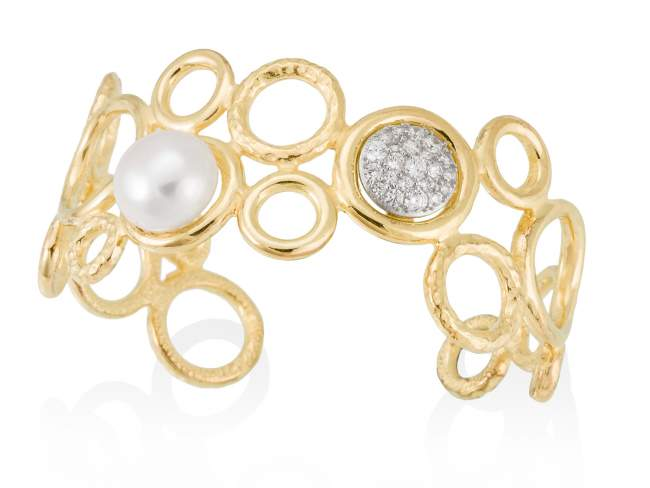Bracelet LEPERL pearl in golden silver de Marina Garcia Joyas en plata Bracelet in 18kt yellow gold and rhodium plated 925 sterling silver, white cubic zirconia and freshwater cultured pearls. (wrist size: 16 to 19 cm.)