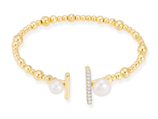 Bracelet SAPPORO pearl in golden silver de Marina Garcia Joyas en plata Bracelet in 18kt yellow gold and rhodium plated 925 sterling silver, white cubic zirconia and freshwater cultured pearls. (wrist size: 18 cm.)