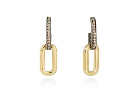 Earrings HILTON cognac in golden silver