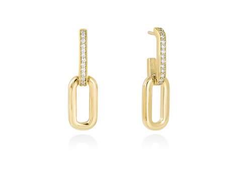 Earrings HILTON white in golden silver