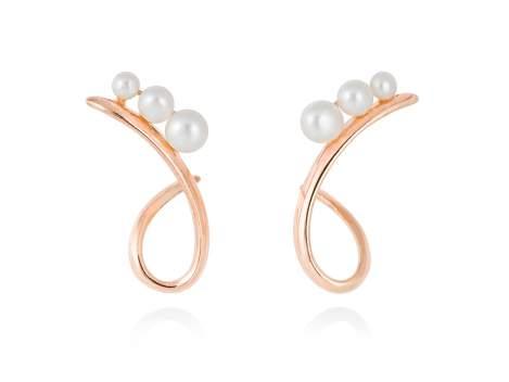 Earrings TAKA pearl in rose silver