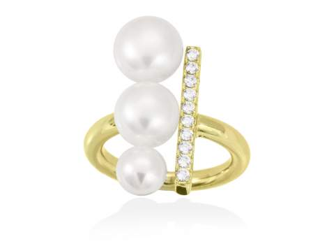 Ring SAPPORO pearl in golden silver