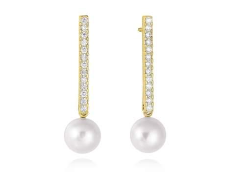 Earrings SAPPORO pearl in golden silver
